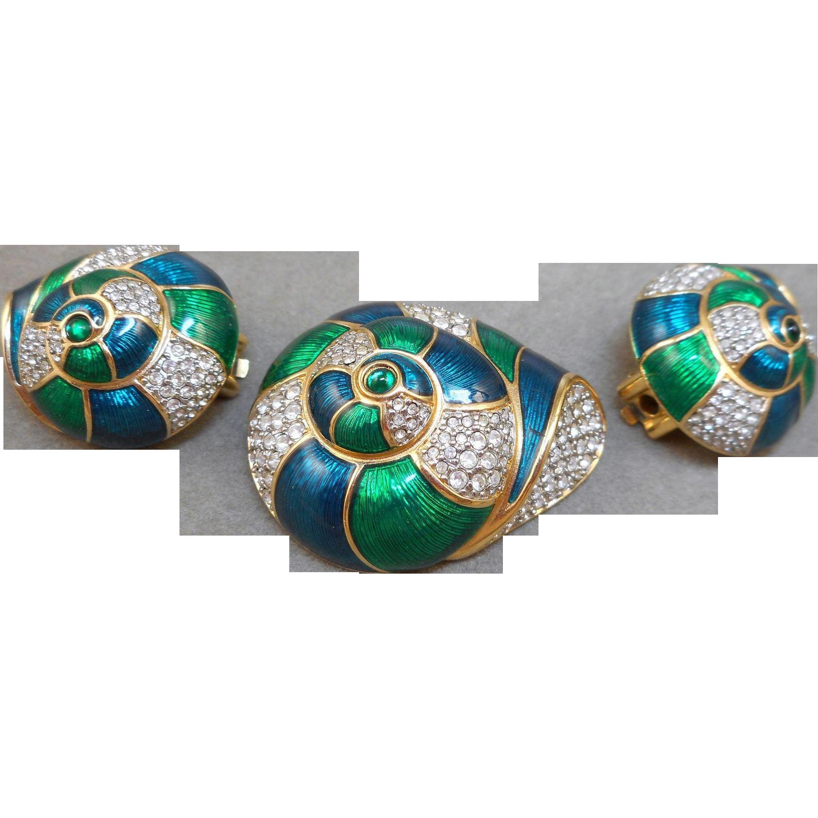 Swarovski Shell Brooch Earrings Set