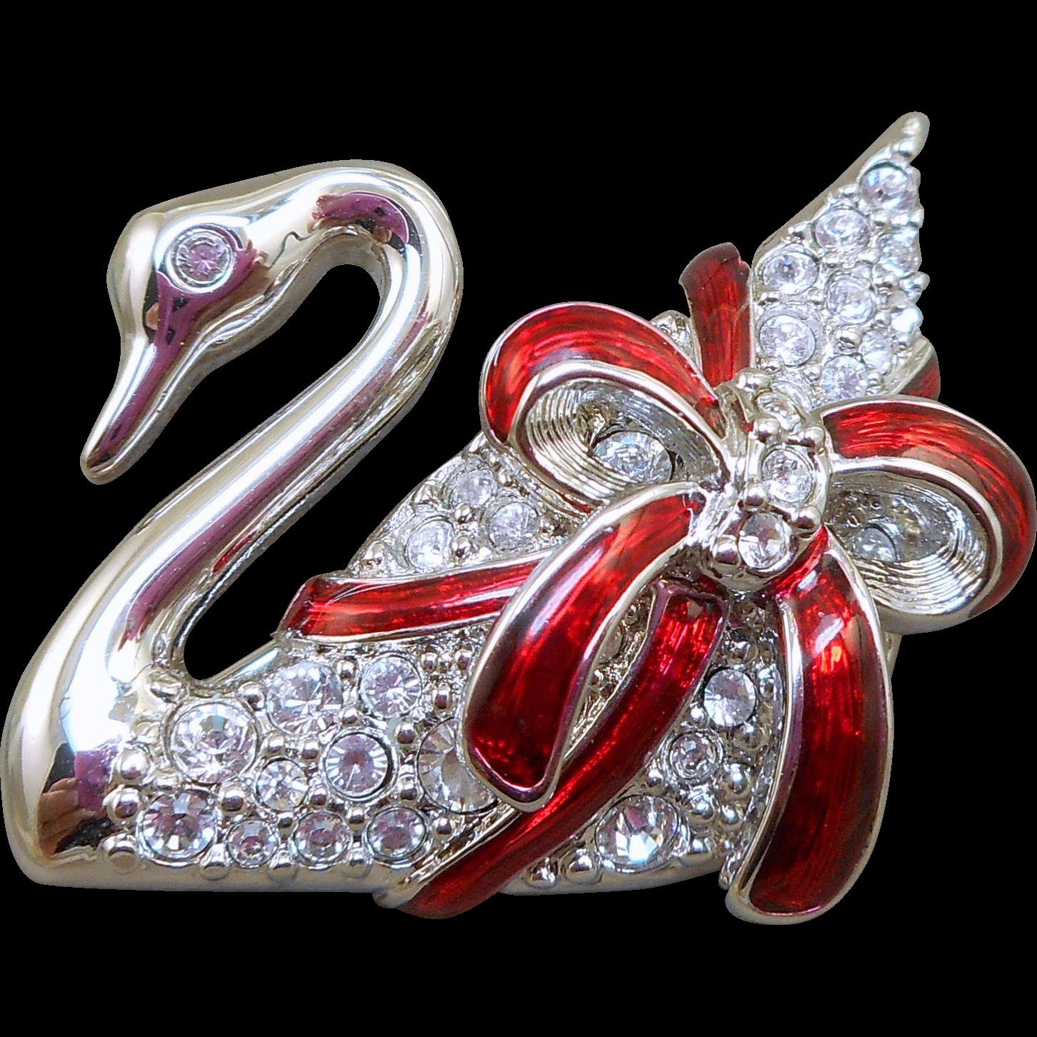Swarovski Christmas Swan Pin