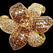 Swarovski Topaz Flower Brooch