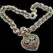 Judith Jack Heart Charm Bracelet