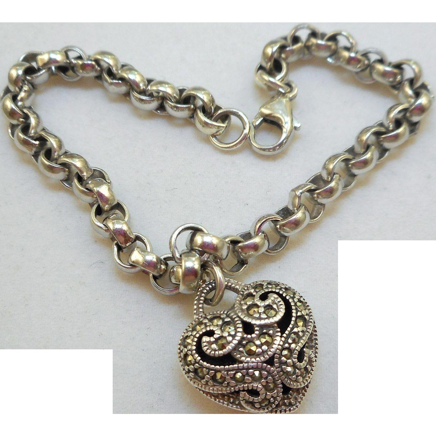 Judith Jack Heart Charm Bracelet from antiqueali on Ruby Lane
