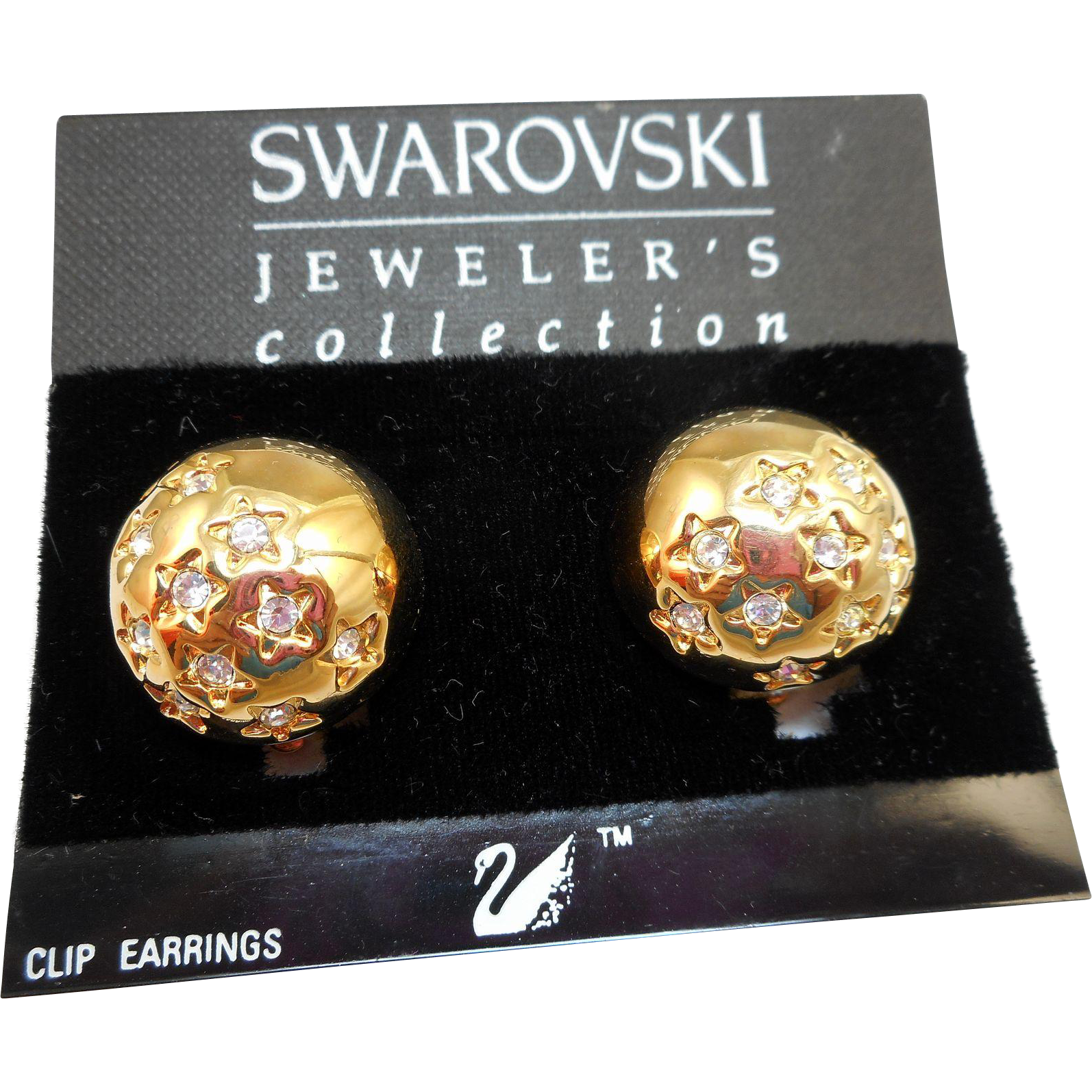 Swarovski Domed Star Earrings - MOC