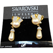 Swarovski Pearl Drop Earrings - MOC