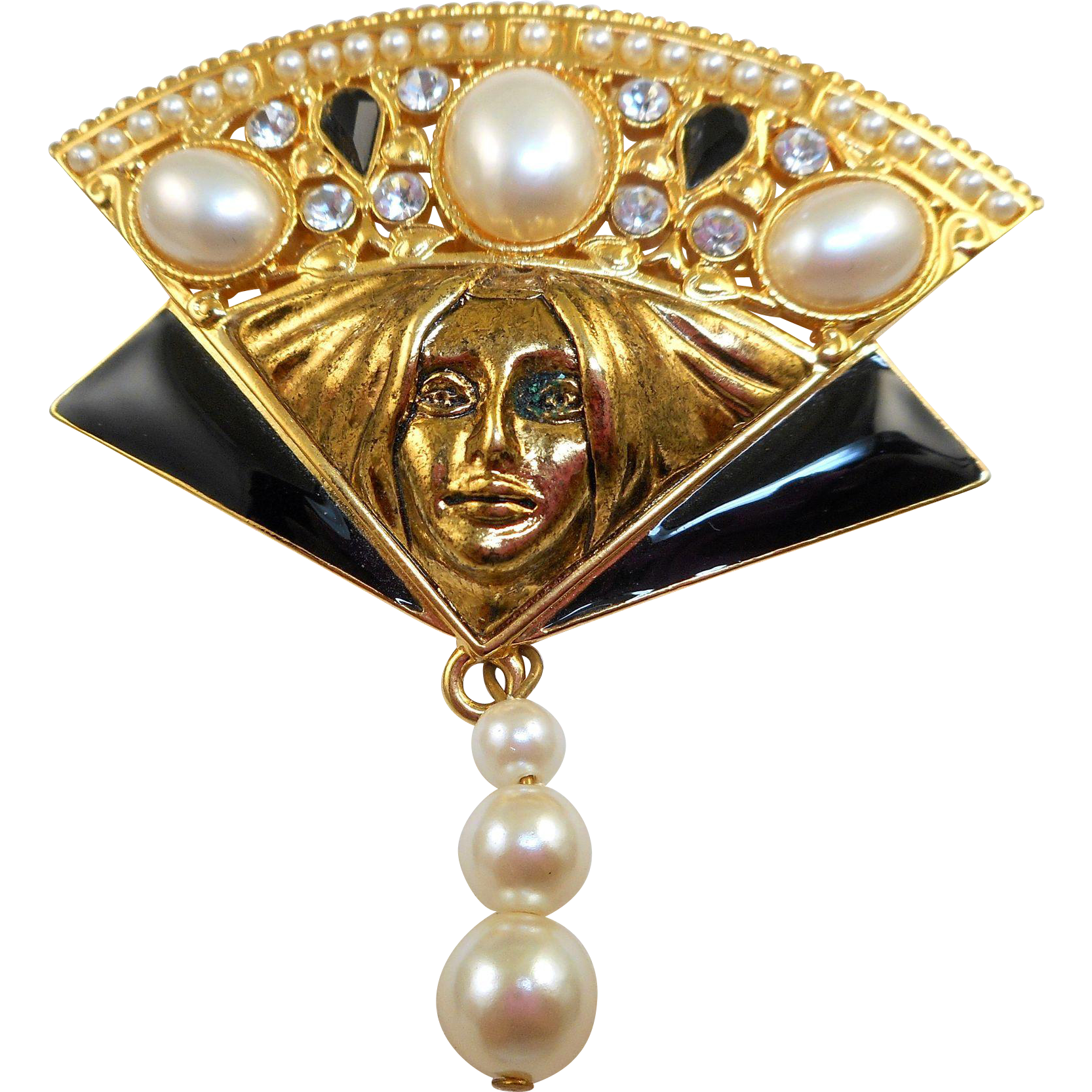 Berebi Fan Lady Face Brooch - Limited Edition