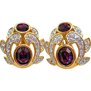NOS Swarovski Purple Rhinestone Earrings - MOC