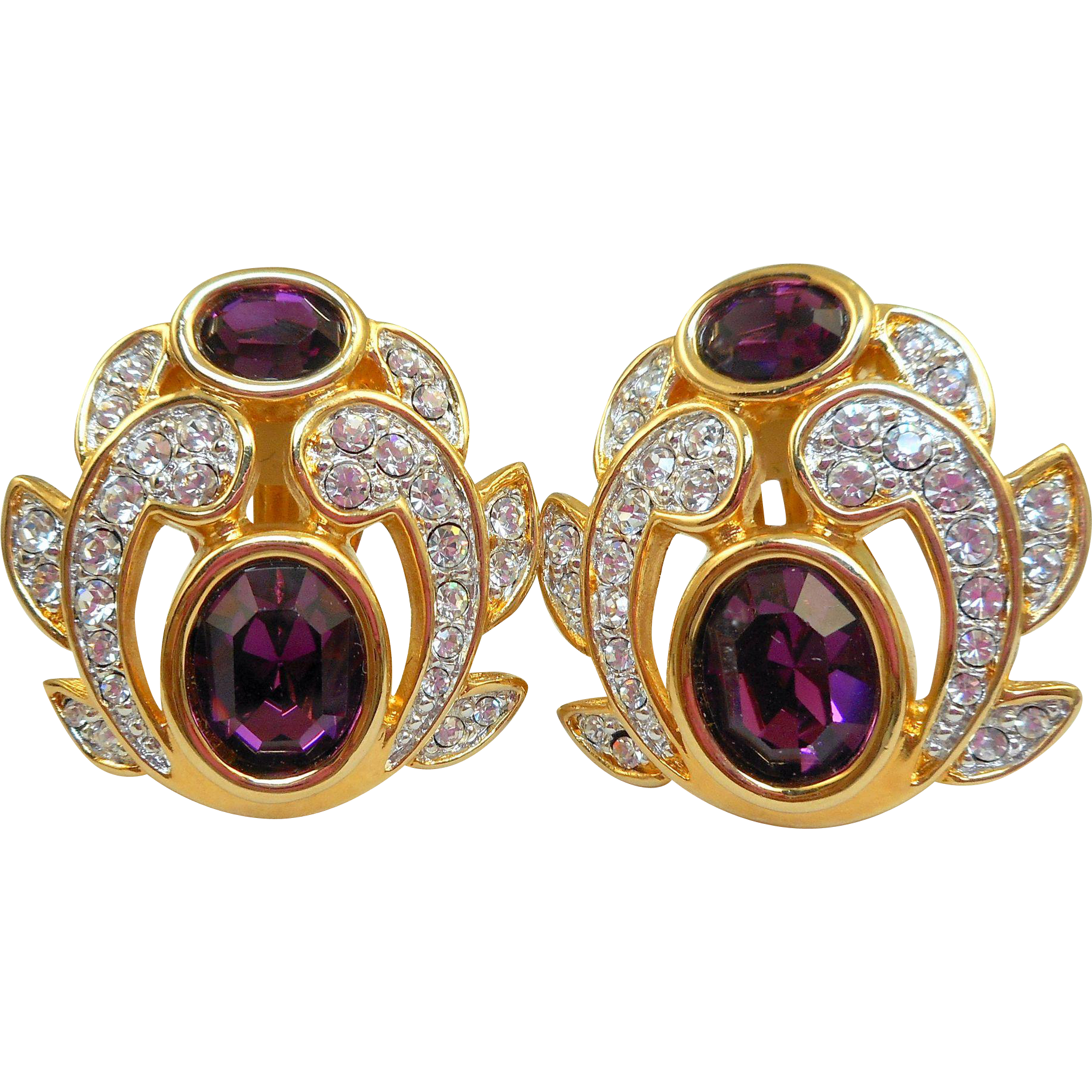 NOS Swarovski Purple Rhinestone Earrings - MOC