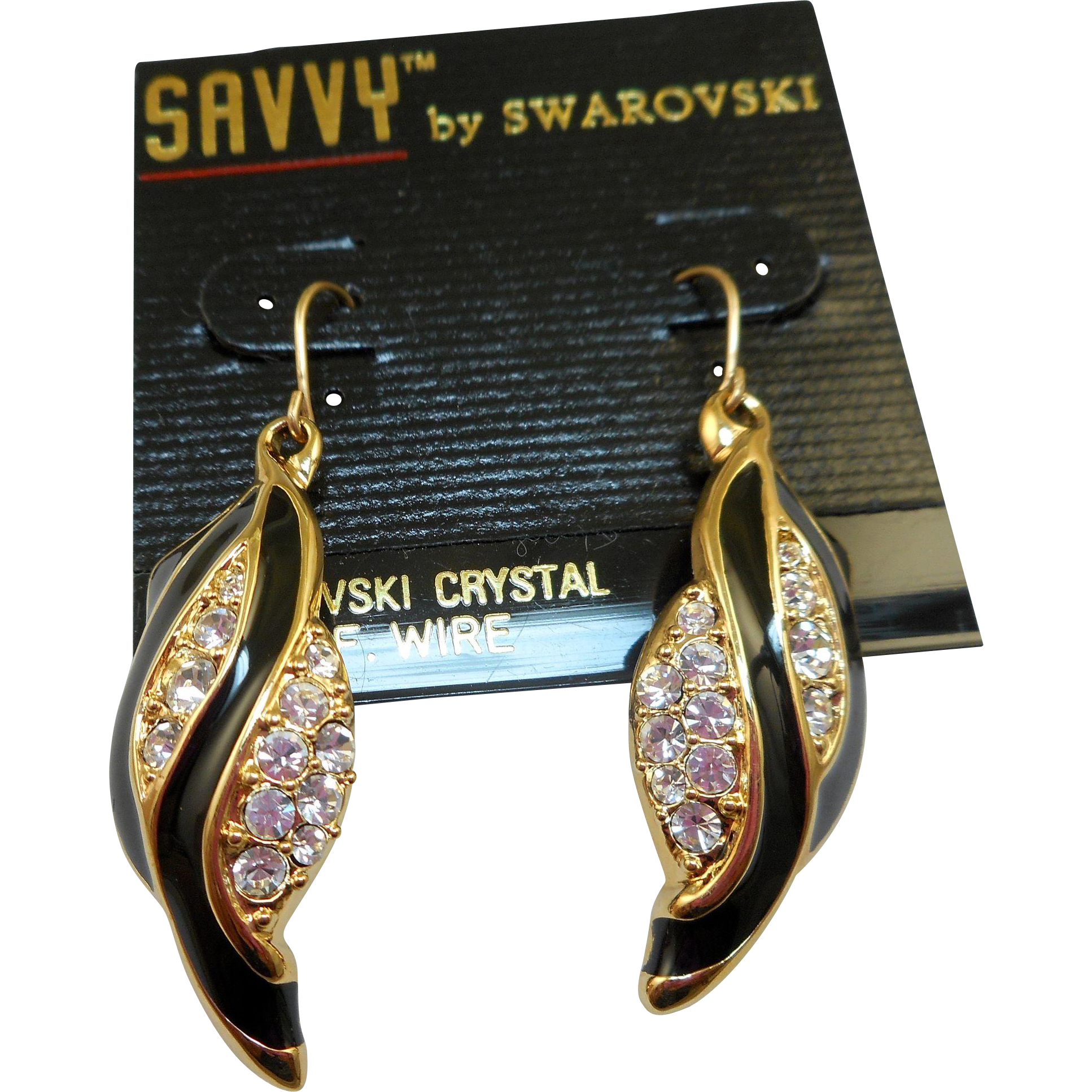 Swarovski Savvy Black Enamel Rhinestone Earrings - MOC