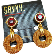 Swarovski Gold Mesh Red Rhinestone Earrings - MOC