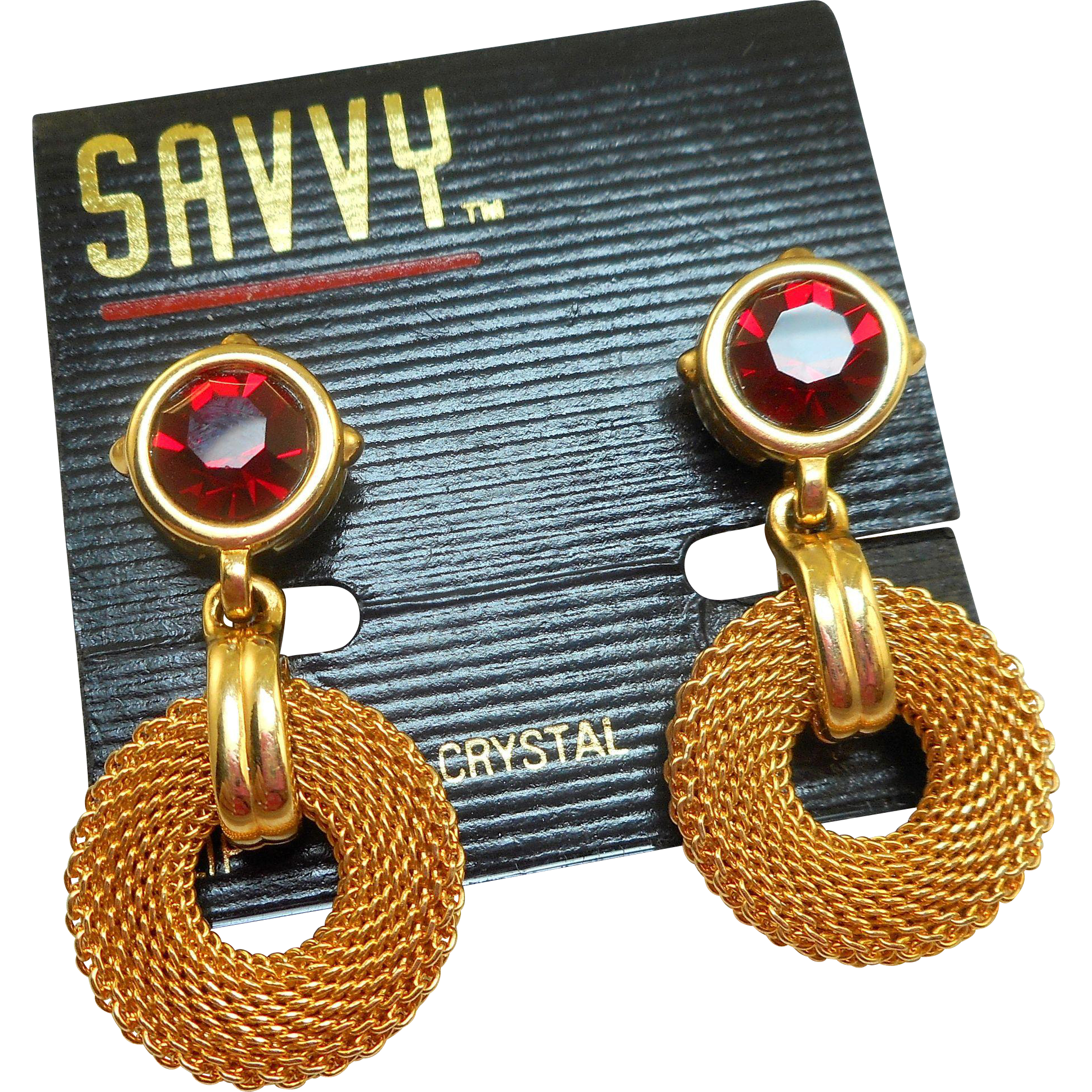 Swarovski Gold Mesh Red Rhinestone Earrings - MOC