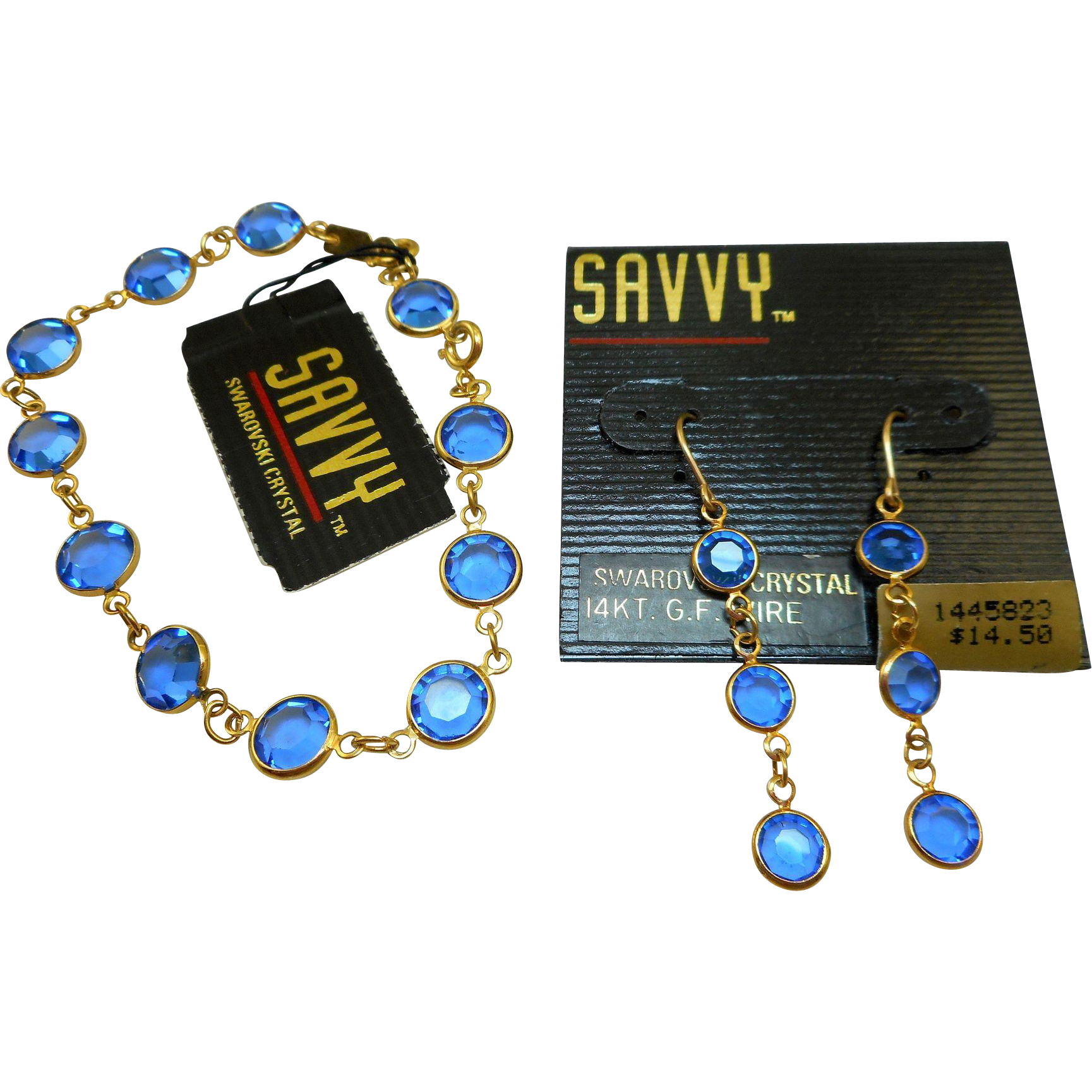 Swarovski Savvy Blue Glass Bracelet Earrings Set - MWT