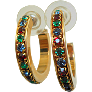 NOS Swarovski Savvy Multi Color Rhinestone Hoop Earrings - MOC
