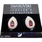 NOS Swarovski Crystal Red Earrings