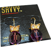 Swarovski Savvy Purple Crystal Earrings