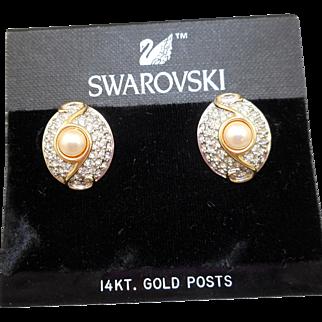 NOS Swarovski Rhinestone Pearl Earrings - MOC