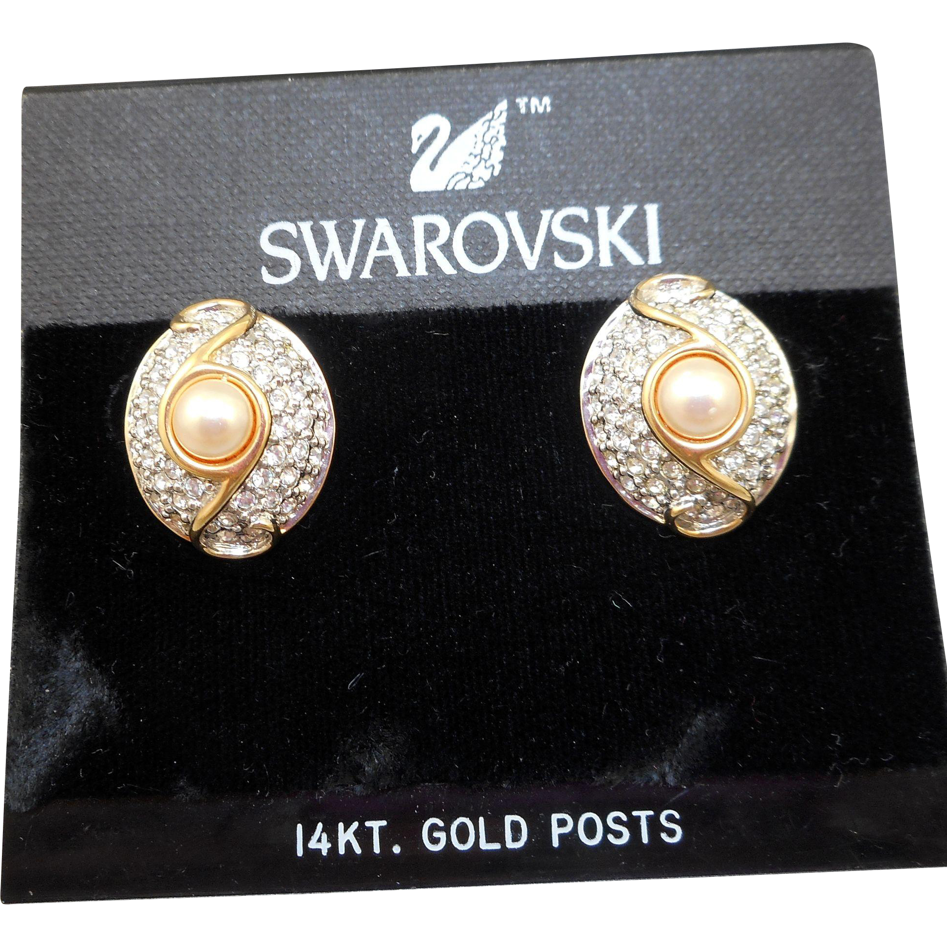 NOS Swarovski Rhinestone Pearl Earrings - MOC