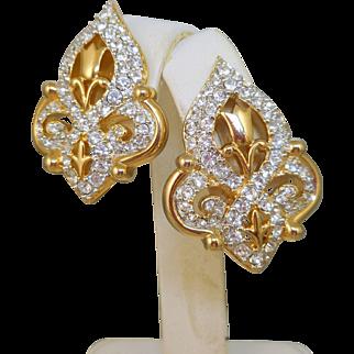 NOS Swarovski Fleur de Lis Earrings - MOC