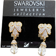 NOS Swarovski Crystal Dangle Earrings - MOC