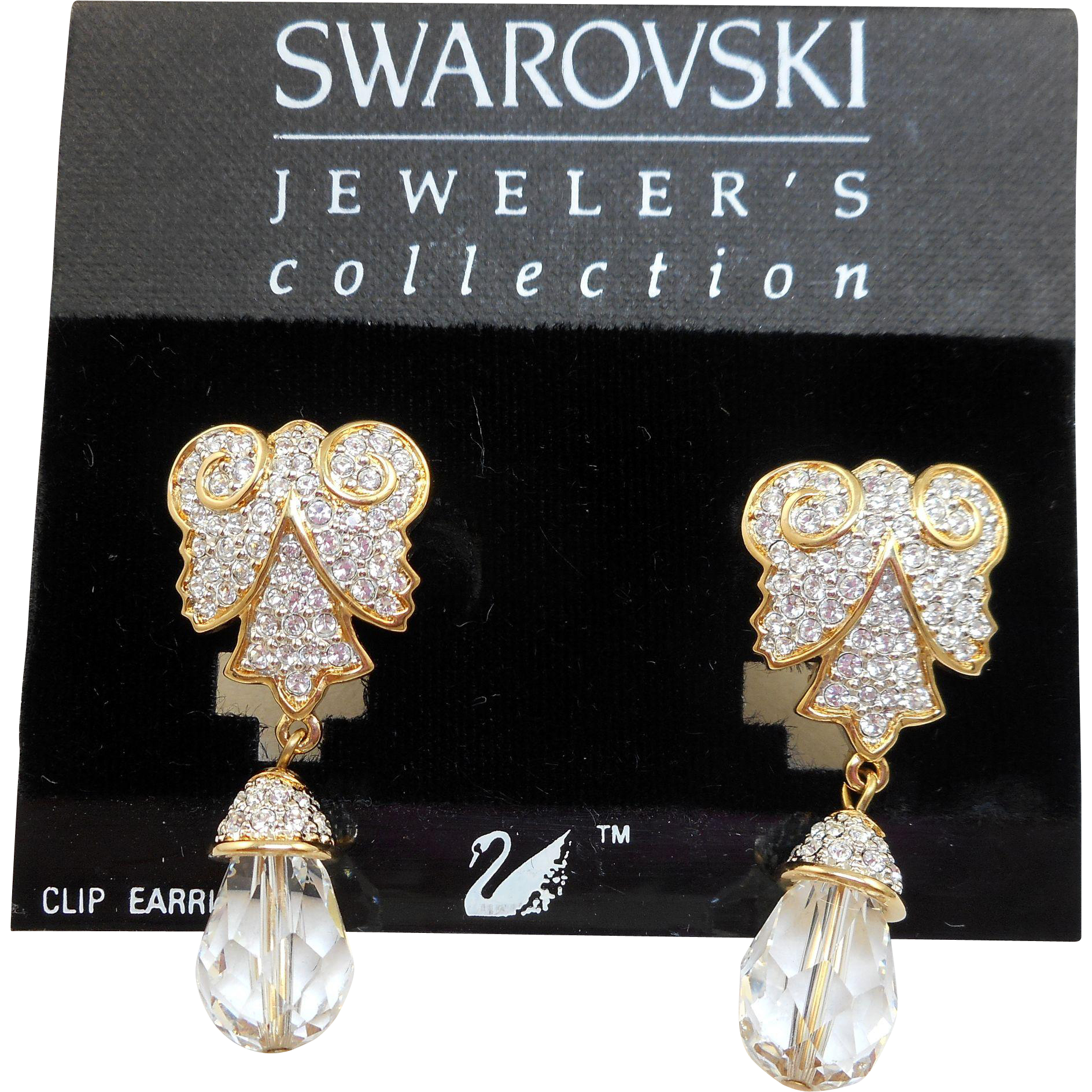 NOS Swarovski Crystal Dangle Earrings - MOC