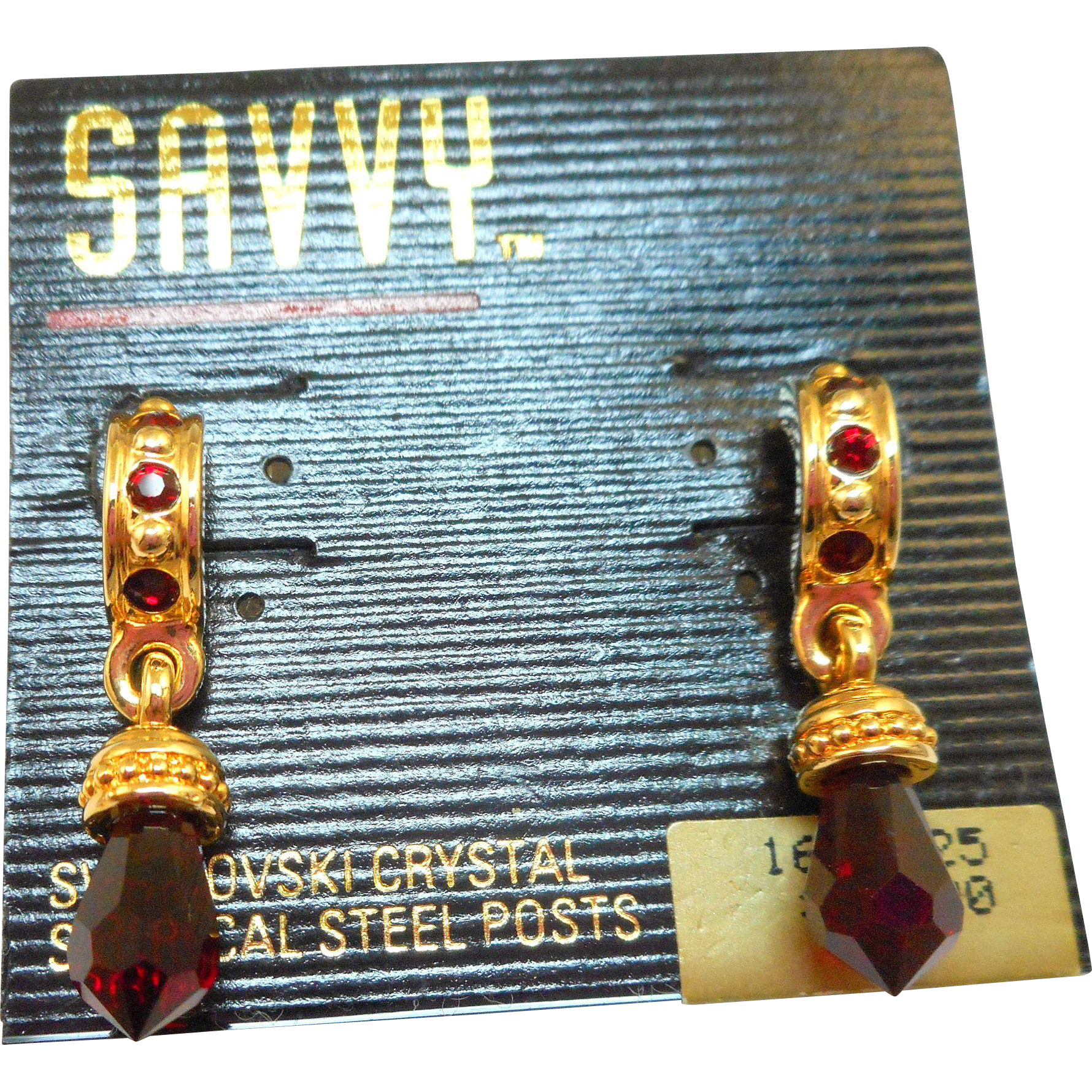 Swarovski Savvy Red Crystal Drop Earrings - MOC