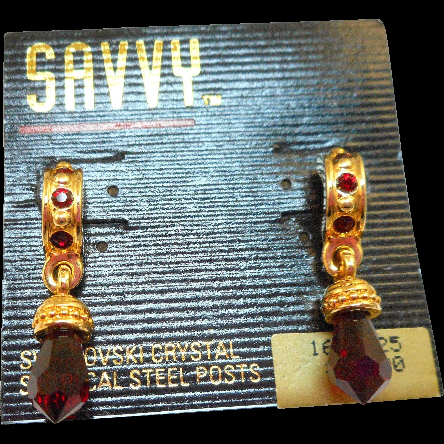 Swarovski Savvy Red Crystal Drop Earrings - MOC