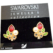 NOS Swarovski Fruit Salad Earrings - MOC