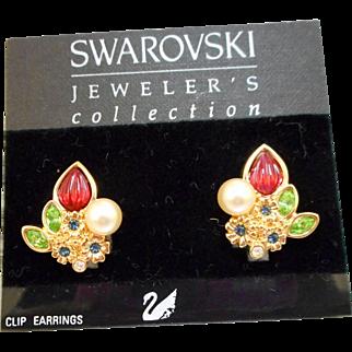 NOS Swarovski Fruit Salad Earrings - MOC