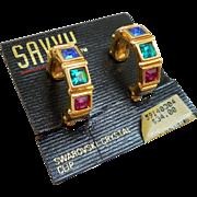 NOS Swarovski Savvy Hoop Earrings