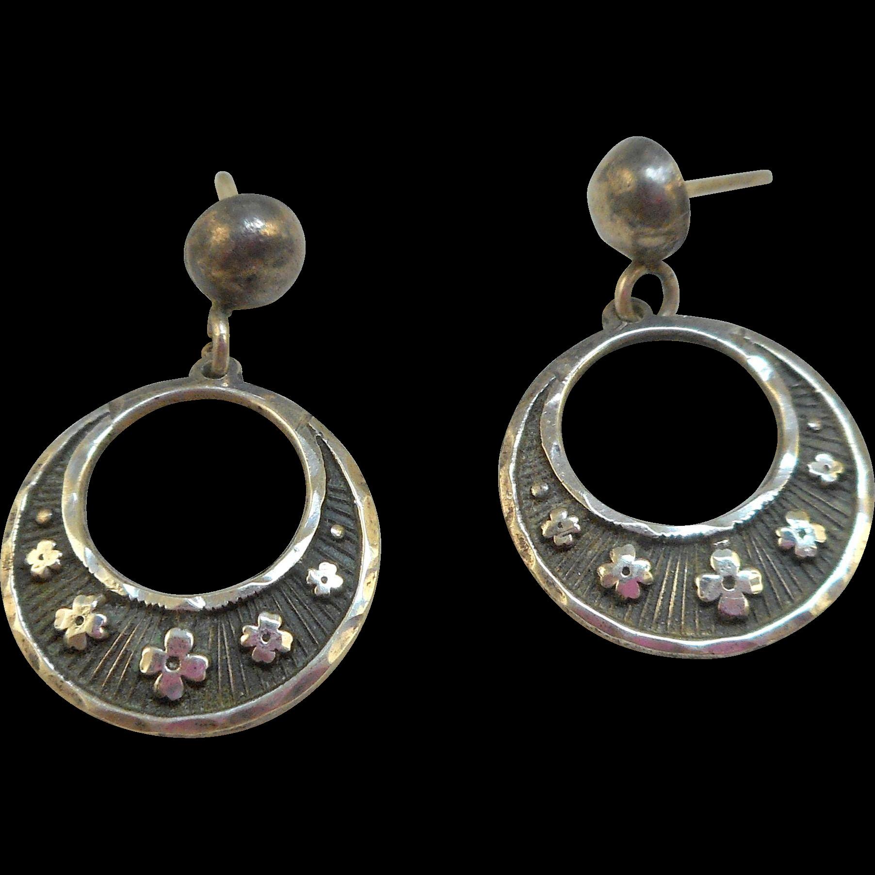 Mexican Silver Hoop Earrings