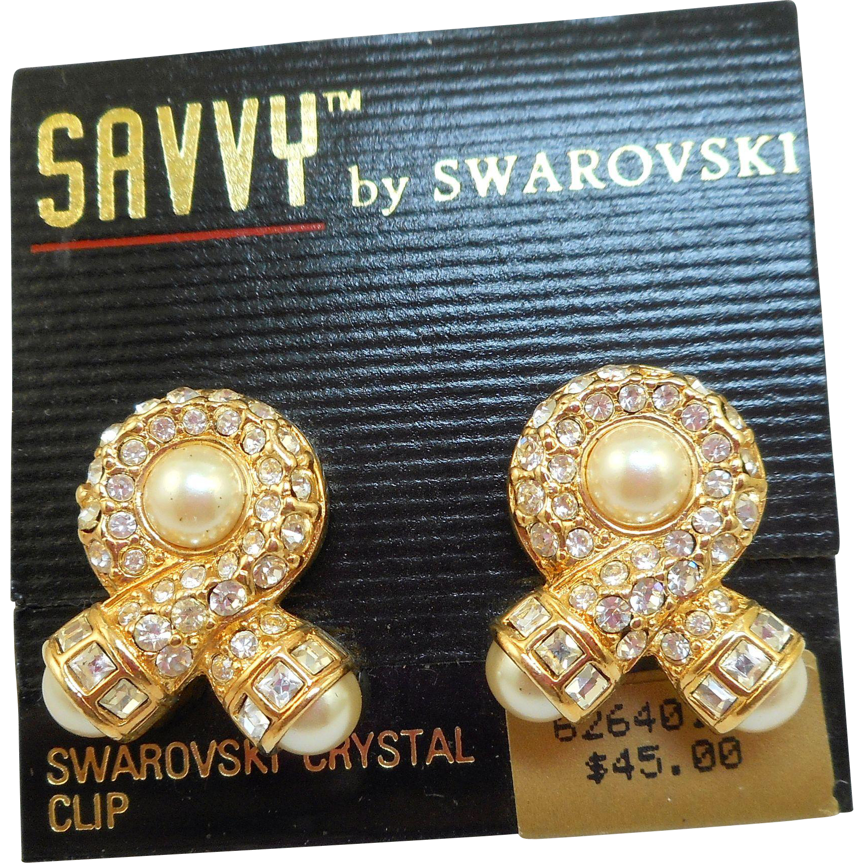 NOS Swarovski Savvy Pearl Rhinestone Earrings - MOC