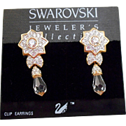 NOS Swarovski Crystal Drop Earrings - MOC