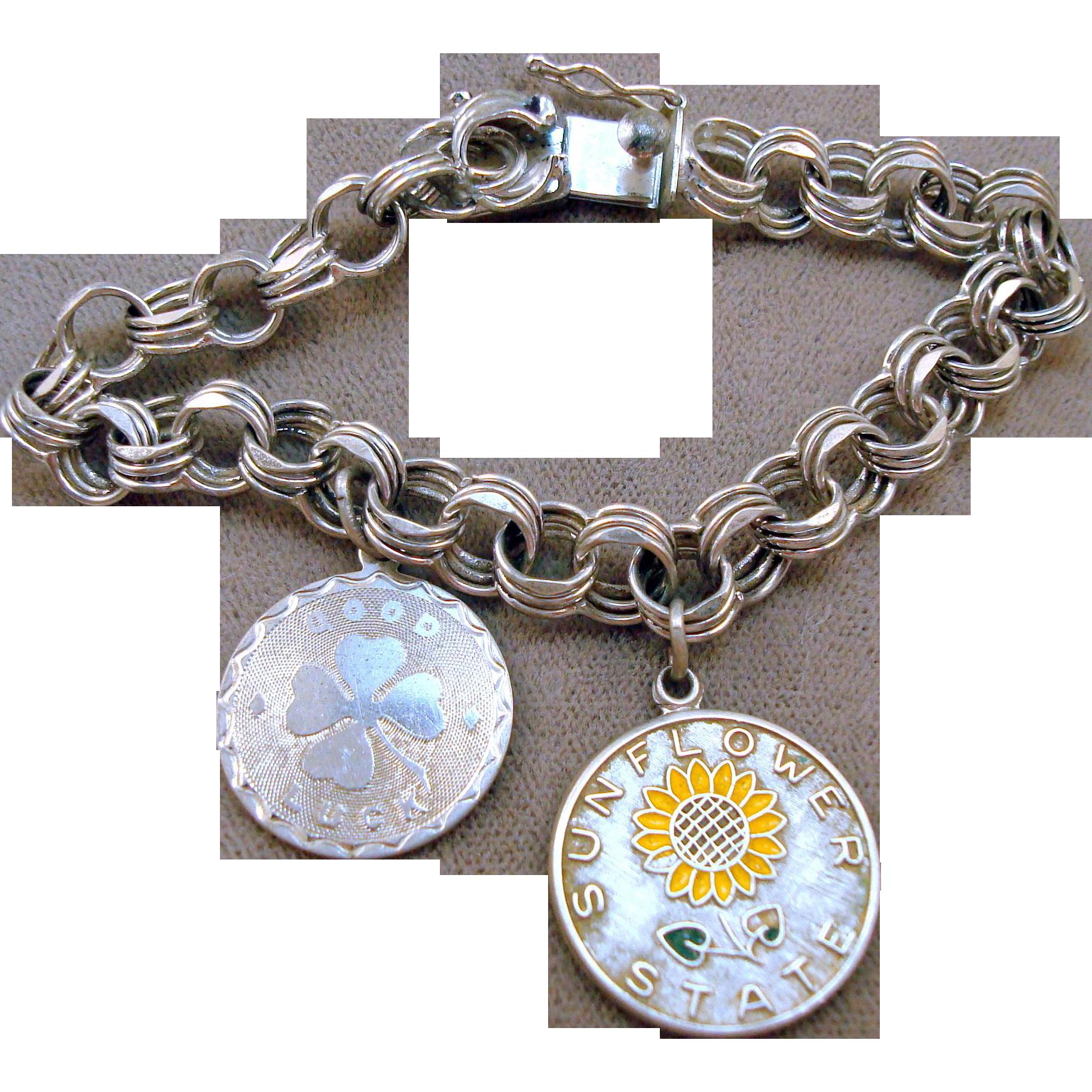 Vintage Sterling Charm Bracelet - 2 Charms