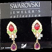 NOS Swarovski Fruit Salad Drop Earrings - MOC