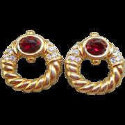 NOS Swarovski Savvy Red Rhinestone Earrings - MOC