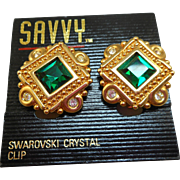 NOS Swarovski Savvy Green Rhinestone Earrings - MOC