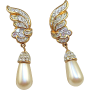 NOS Swarovski Pearl Drop Earrings - MOC