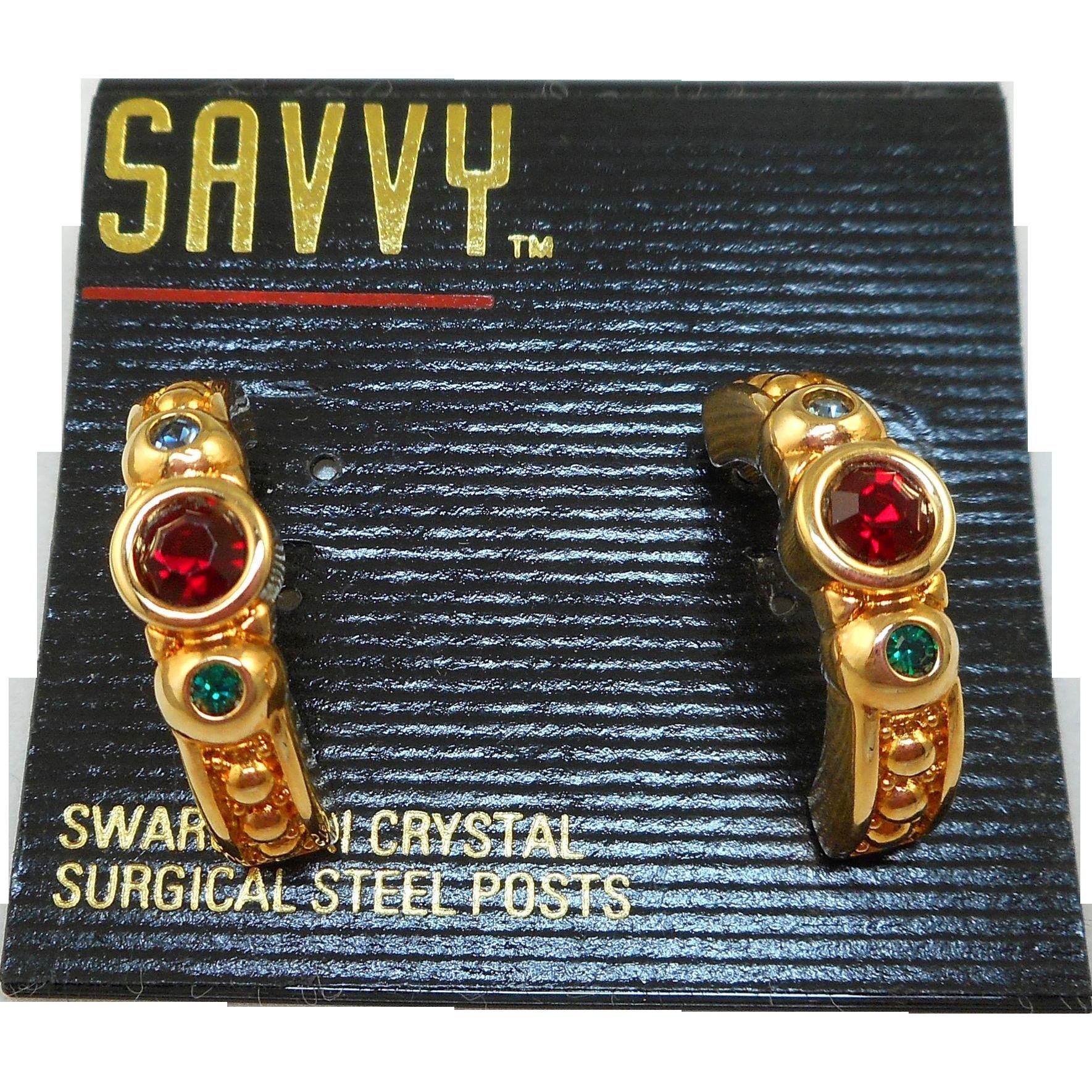 NOS Swarovski Savvy Hoop Post Earrings
