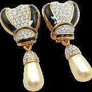 NOS Swarovski Black Enamel Pearl Drop Earrings