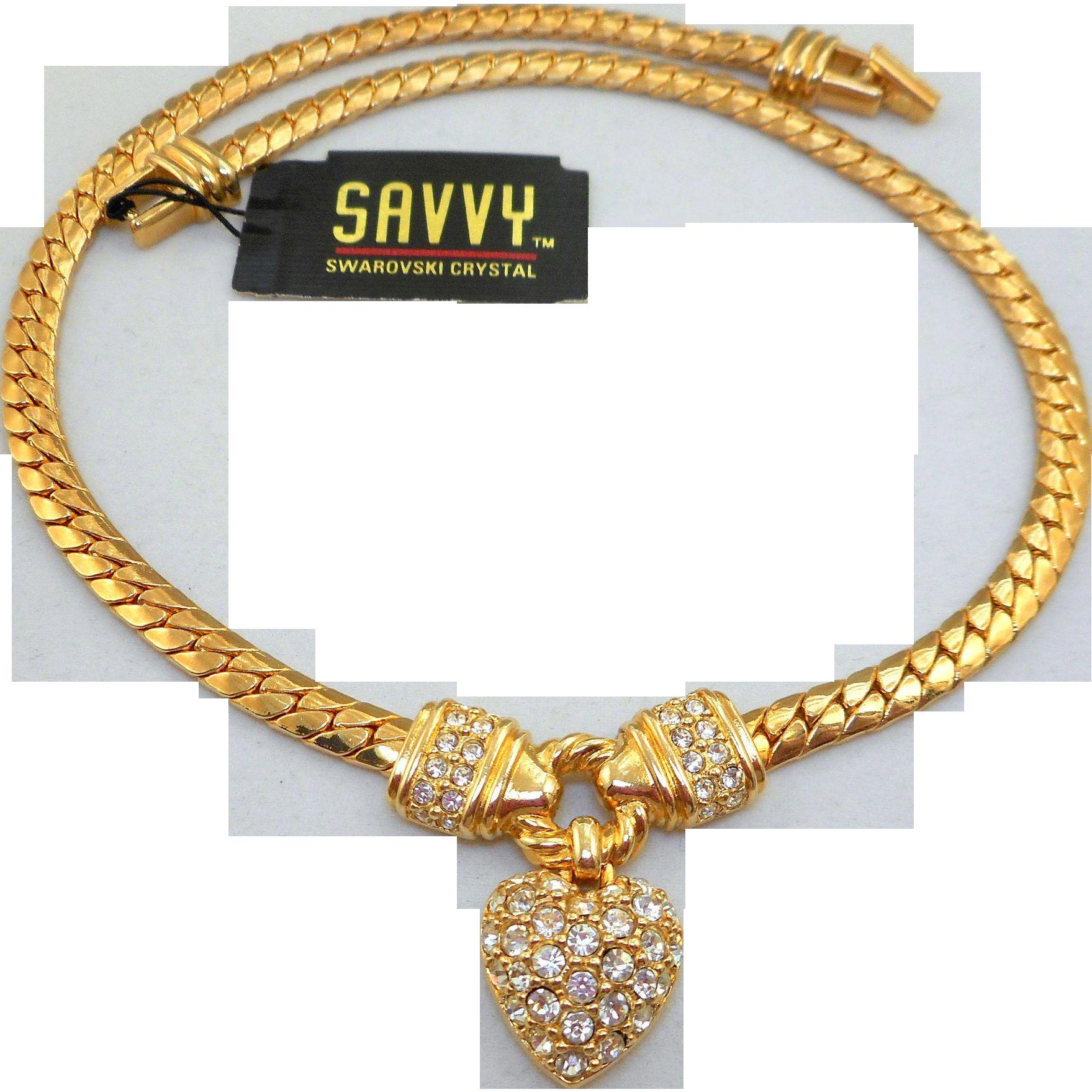 NOS Swarovski Savvy Heart Necklace
