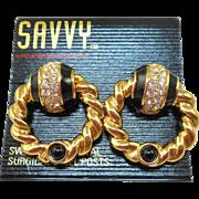 NOS Swarovski Savvy Door Knocker Post Earrings