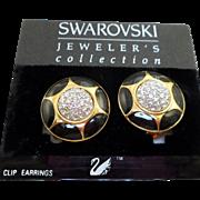 NOS Swarovski Black Enamel Rhinestone Earrings - MOC