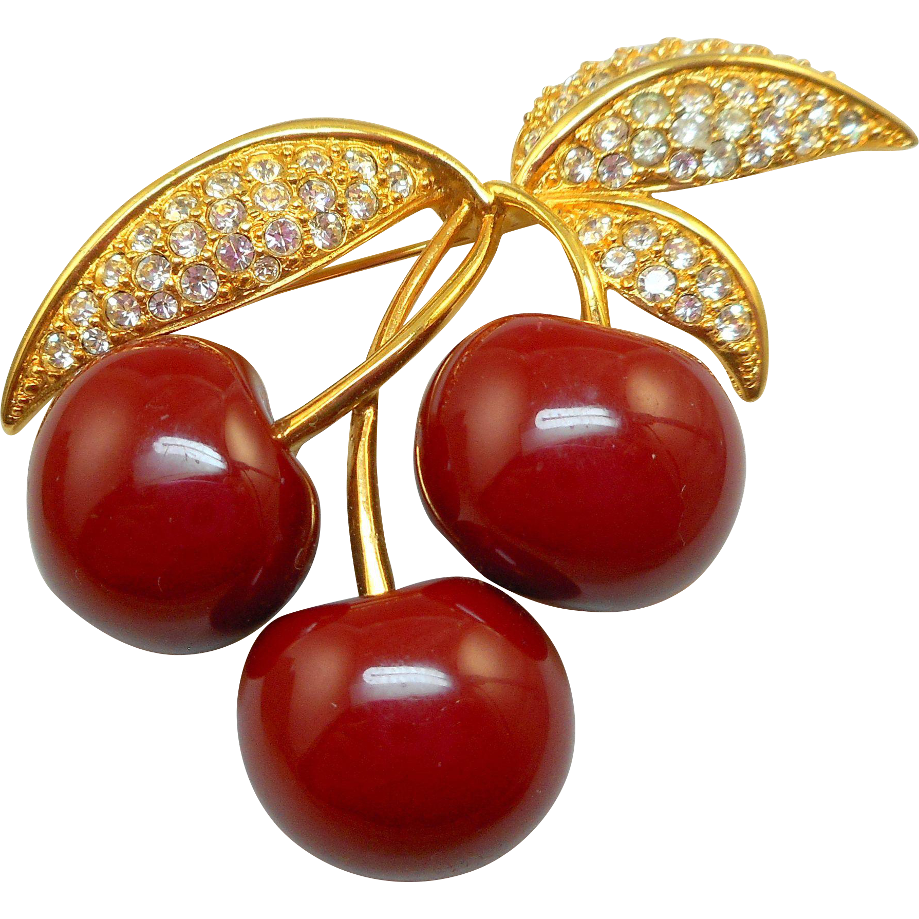 Joan Rivers Cherries Brooch