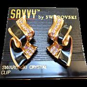 NOS Swarovski Savvy Black Enamel Earrings