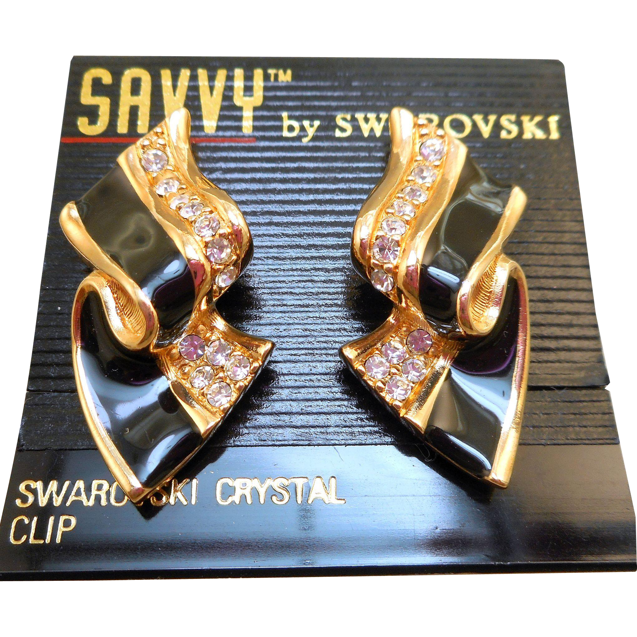 NOS Swarovski Savvy Black Enamel Earrings