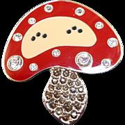Whimsical Swarovski Mushroom Pin