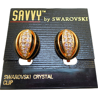 Swarovski Savvy Black Enamel Rhinestone Clip Earrings
