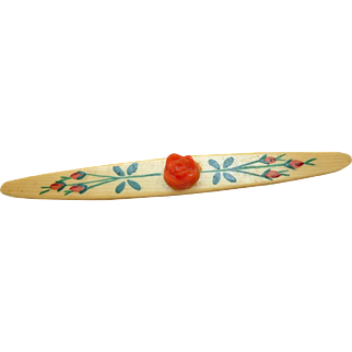 Hand Painted Celluloid Bar Pin
