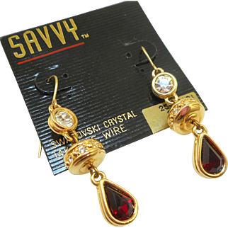 NOS Swarovski Savvy Red/Crystal Dangly Earrings - MOC