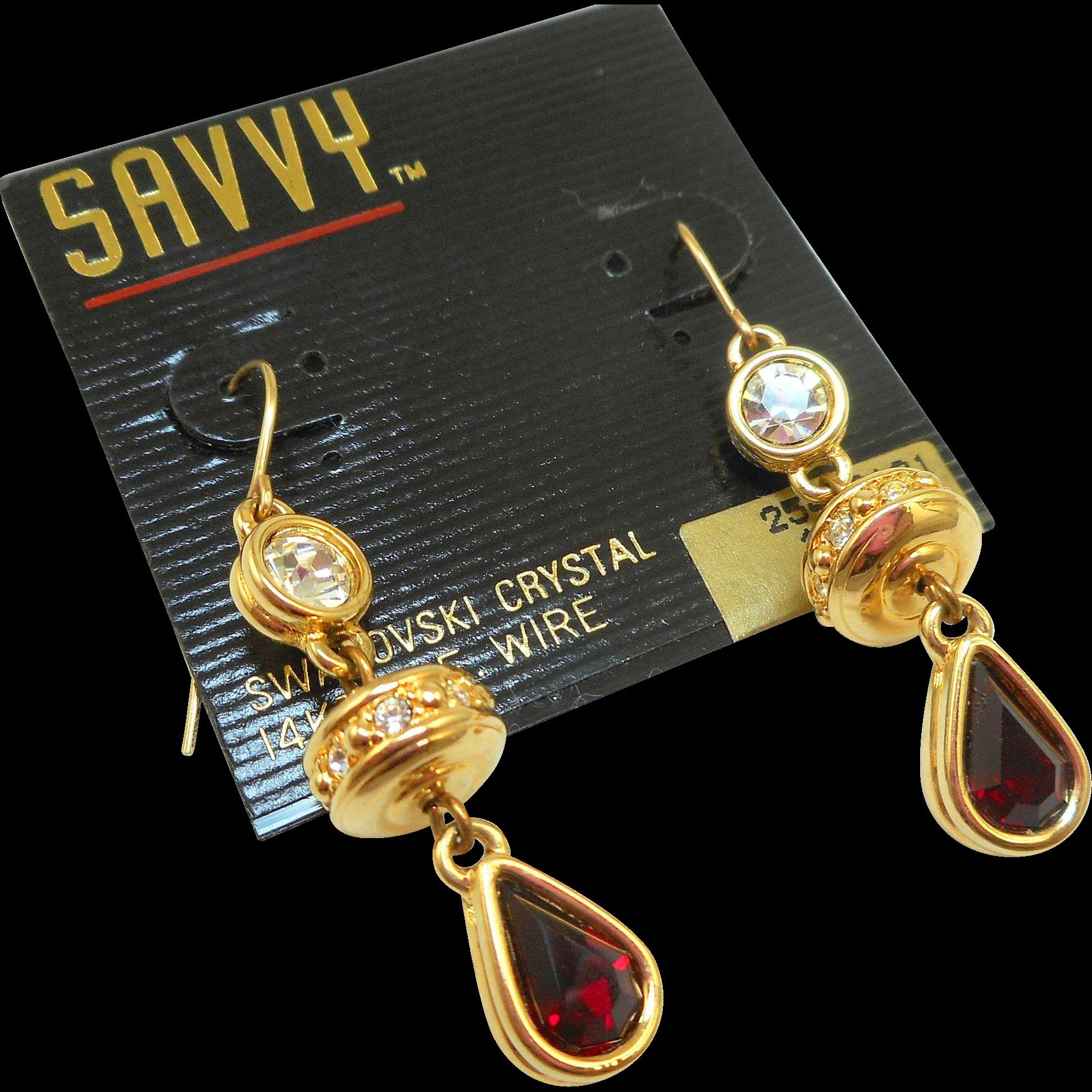 NOS Swarovski Savvy Red/Crystal Dangly Earrings - MOC
