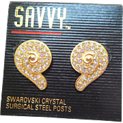 NOS Swarovski Savvy Swirly Earrings