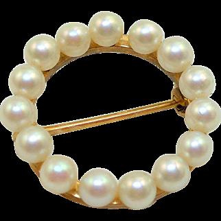 14K Gold Pearl Circle Pin